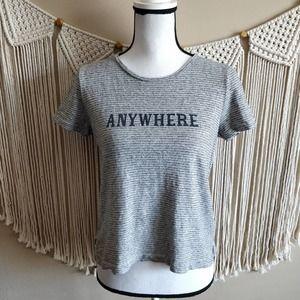 Madewell Anywhere Gray White Striped Crop Tee Top